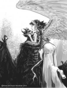 Angel demon black and white Brent Woodside