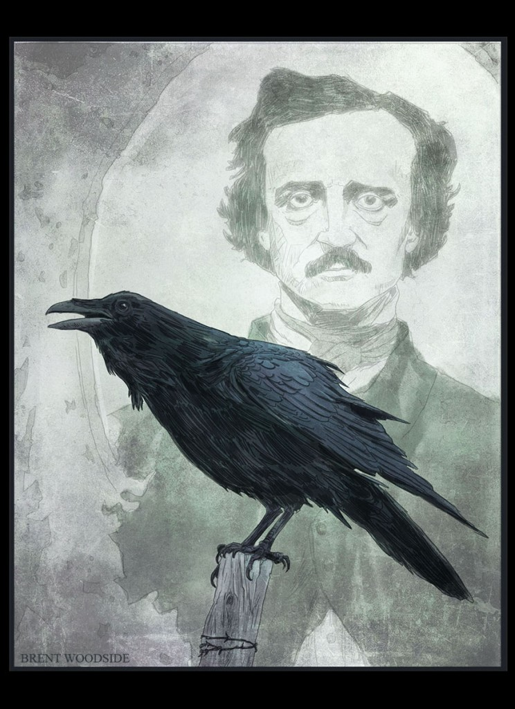 drawing of Poe by Brent Woodside