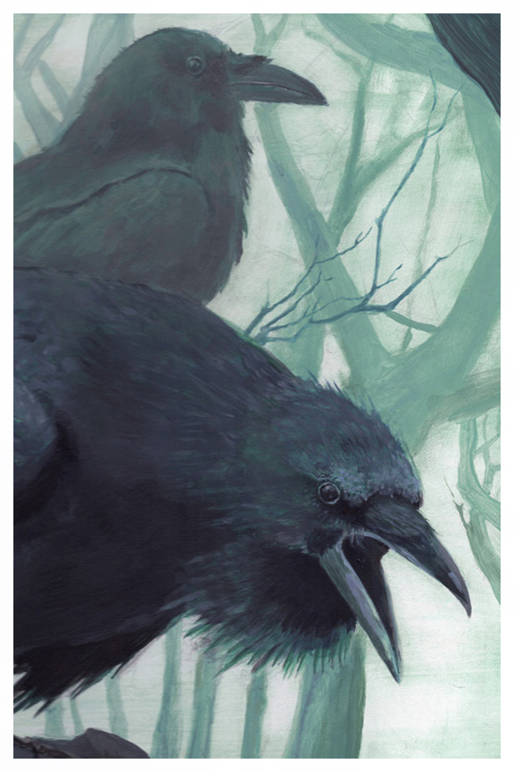 Watchers, ravens drawing by Kayla Woodside