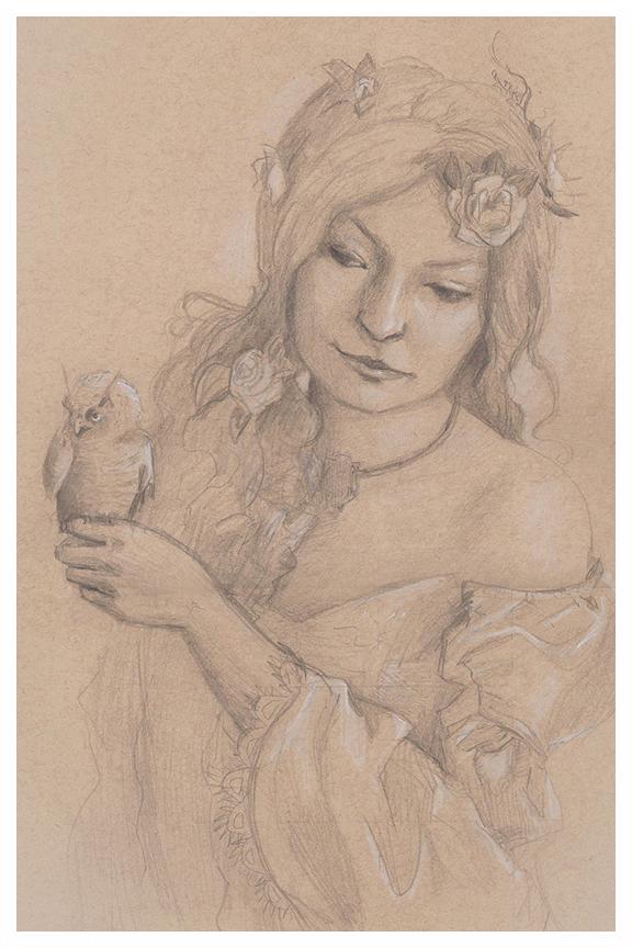 Cold Shoulder, owl sketch by Kayla Woodside